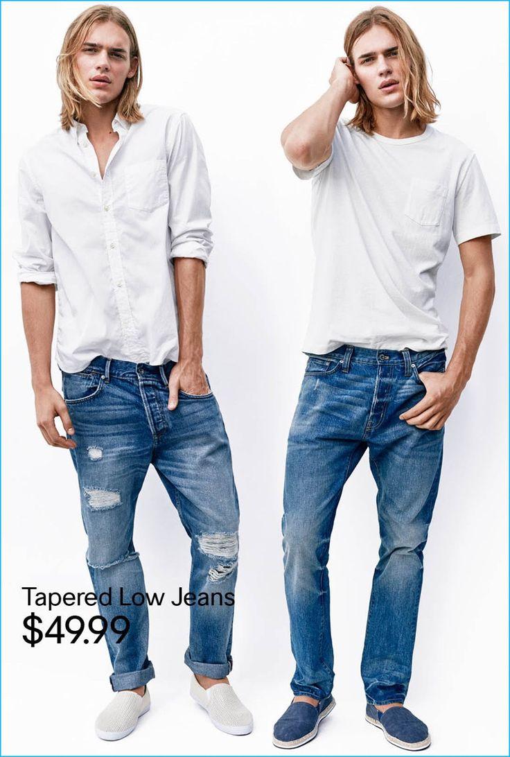White t shirt fashion tips - H M Men 2016 Tapered Low Denim Jeans