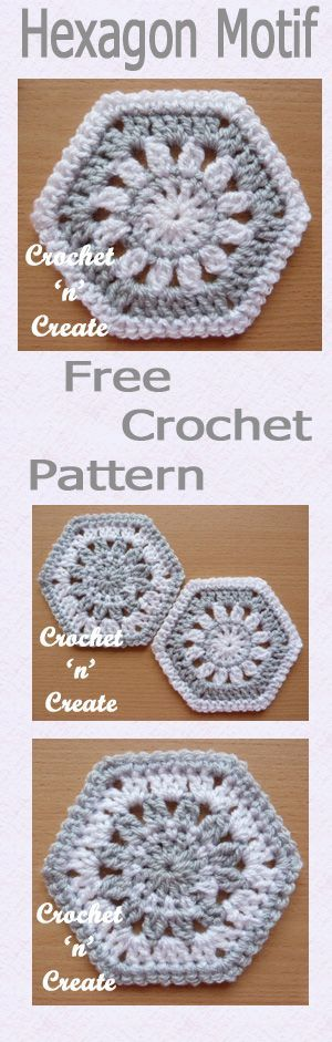 Free crochet pattern for hexagon motif.