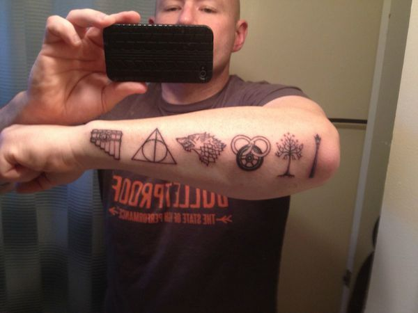 This Tattoo Features Some Greatest Hits Of Fantasy Literature, Kingkiller, Harry Potter, A Song of Ice and Fire (Game of THrones), Wheel of Time, Lord of the Rings(tolkien), and Chronicals of Narnia.