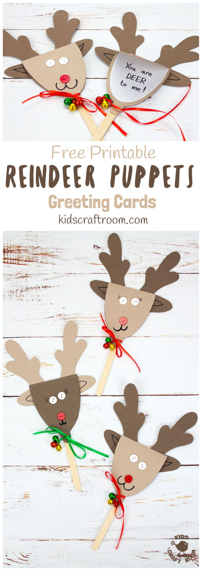 REINDEER PUPPET GREETING CARDS - These Rudolf Puppets are so fun to make and because they double up to be surprise greeting cards they are perfect for sharing some festive cheer to friends and family too. They are Christmas on a stick literally! #Christmas #Christmascrafts #Christmascraftideas #kidscrafts #reindeer #Rudolf #reindeercrafts #rudolfcrafts #puppets #puppetcrafts #chistmaspuppets #greetingcards #Christmascards #kidscraftroom via @KidsCraftRoom