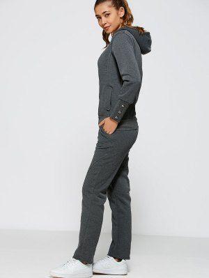 Zip Up Hoodie And Pants - Deep Gray M