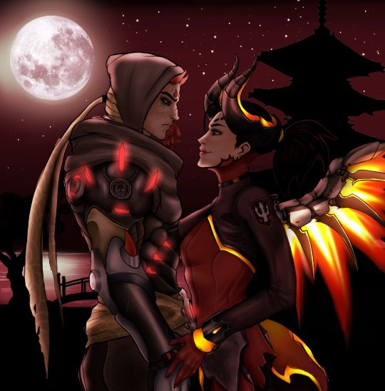 """survivor-vivian2289: """" Oni Genji x Devil Mercy. Line art is by the skilled @lost-to-the-ocean Color and background by Me~ I really enjoyed coloring this! """""""