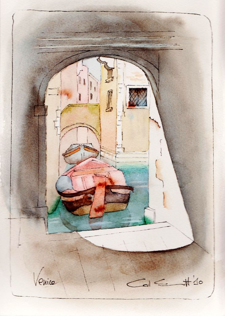 Venice canal; pen and wash