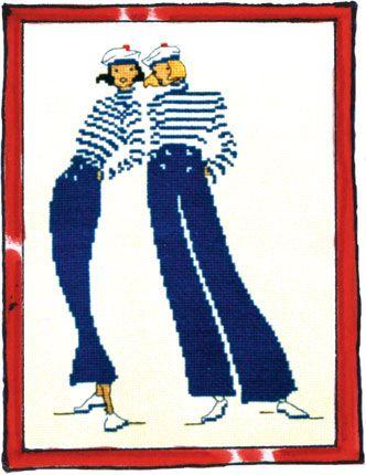 Rue du Port - Broderie à points comptés - Broderie - Pantalons de pont