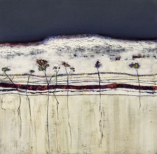 "Contemporary Abstract Landscape Painting-""WHITE CLIFFS III'- by artist Cristina Del Sol- Mixed media and cold wax"