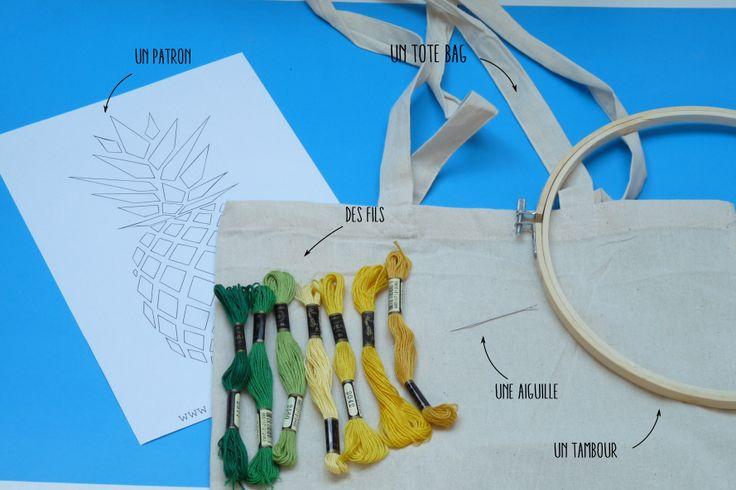 matériel tote bag ananas brodé DIY