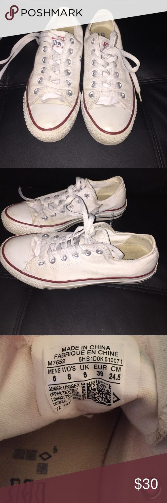 Women's white converse Worn only a few times. Bought too small for me. A little dirty but can easily be cleaned. Converse Shoes