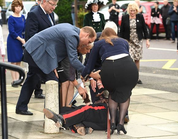 """Elliot Wagland on Twitter: """"Prince William helps the Vice Lord Lieutenant of Essex to his feet after he fell over. Pics via @rexfeatures"""