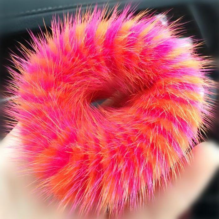 100%Handmade Real Rose Red & Orange MINK Fur Hair Holder Ponytail Scrunchie DS01