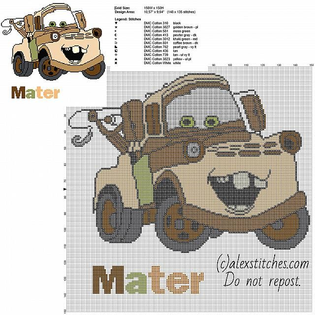 Sir Tow Mater Disney Cars and Cars 2 character free cross stitch pattern big size 150 stitches