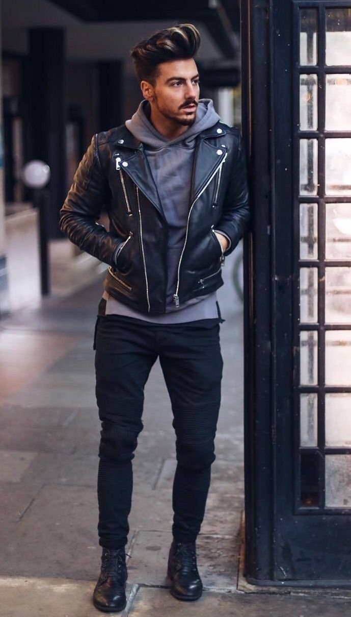 How To Be Fabulous With These Cold Weather Outfits Men Leather Jacket Outfit Men Winter Outfits Men Mens Outfits [ 1209 x 689 Pixel ]