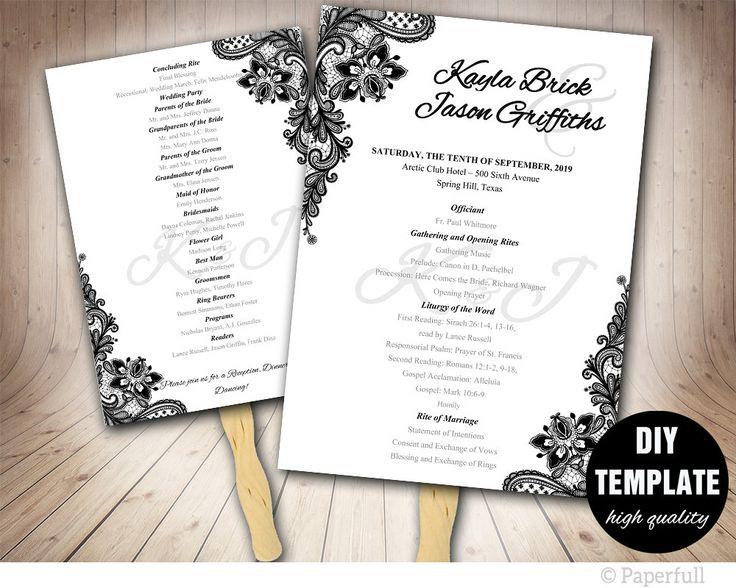Black Wedding Program FAN Template Printable Fan ProgramBlack And White