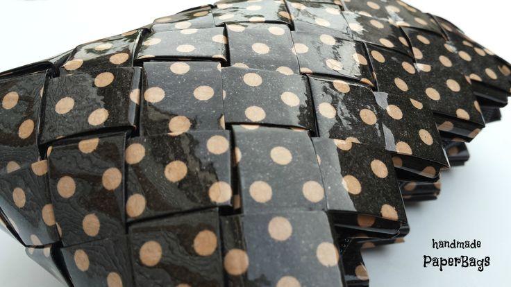 Handmade handbag made of paper with vintage-inspired polka dots