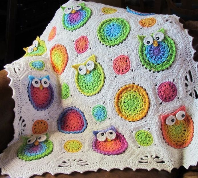 @jen binter - how cool is this!?  you could make one for katie!  Crocheted Owl Blanket Hanging Over Chair