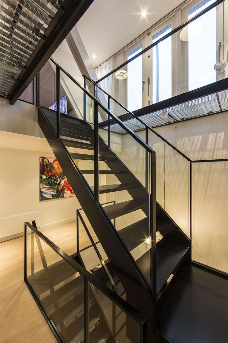 Apartments, Stunning Amsterdam Apartment With Modern Steel Staircase Glass  In Chandelier Ceiling Lamp Wooden Floor Big Large Window Painting By ...