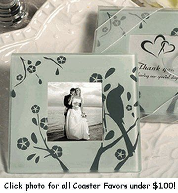 Celebrate Your Love With A Lovebirds Design Glass Photo Coaster Favors Each Of These Unique Coasters Have An Elegant Silver And White Decal