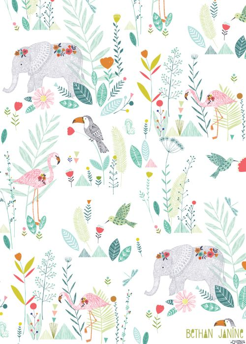 Tropical floral and animal pattern, blue, red, pink, orange, green