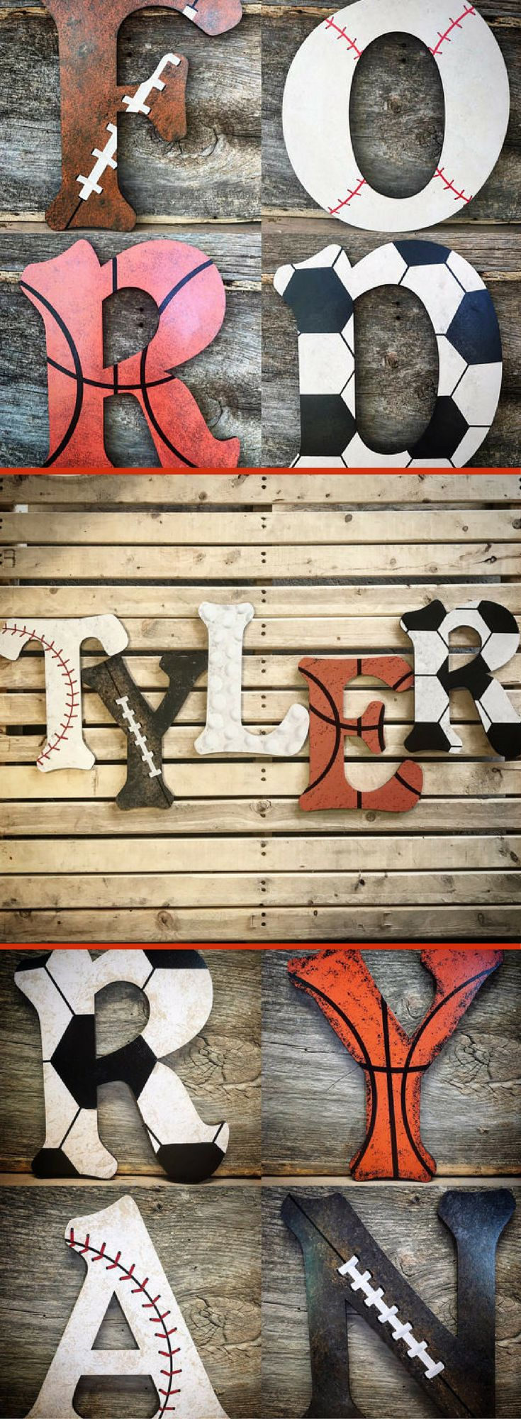Looking for a unique way to personalized your son's sports room?  Look no further!  Love these one-of-a-kind sports themed letters.  Perfect nursery/boys home decor!  Nursery Decor-Sports Nursery Wood Wall Letters Decor-Baby Boy Nursery-Boys Room Decor-Basketball-Football-Baseball. #Sports #Basketball #Football #Baseball #Soccer #Affiliate