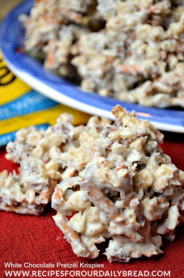 White Chocolate Pretzel Krispies include White Chocolate Chips, Rice Krispies for crunch, crushed pretzels for salt and crunch, and pecans.