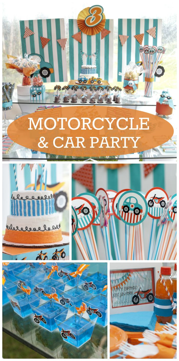 What a fun orange and teal motorcycle and car boy birthday party!  See more party ideas at CatchMyParty.com!