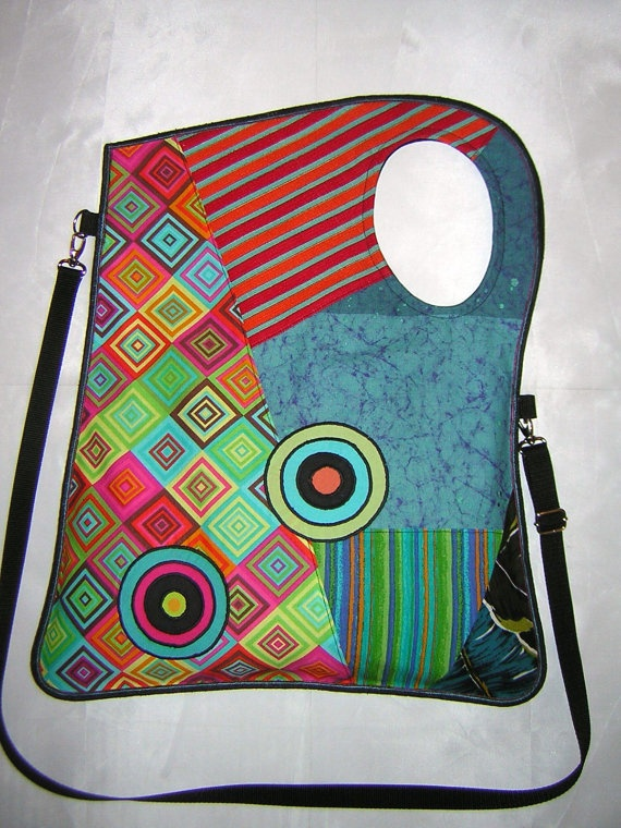 LARGE FABRIC BAG mixed fabrics in rainbow with Circles by mocsi61