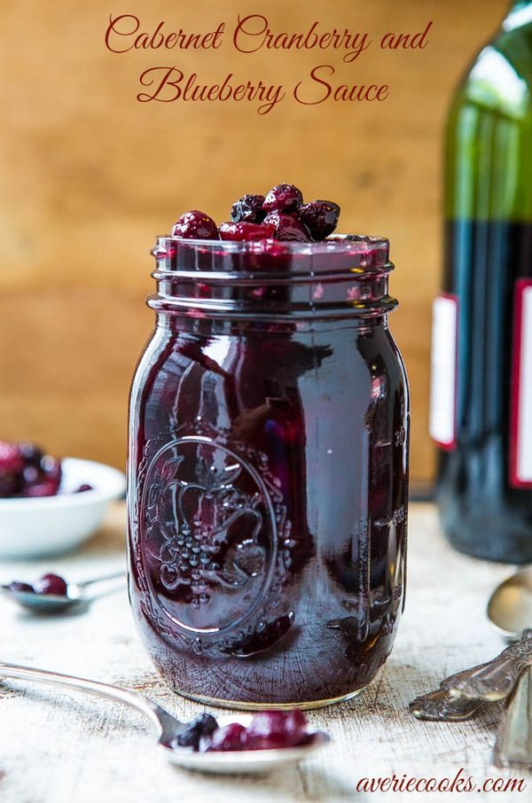 Cabernet Cranberry & Blueberry Sauce (vegan, GF)- Move over boring cranberry sauce. Cranberries are so much better with blueberries & wine! Make your own sauce in 30 minutes. Easy recipe at averiecooks.com