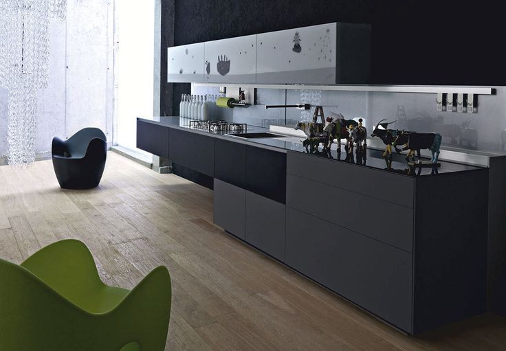 Contemporary kitchen / glass / handmade - ARTEMATICA VITRUM ARTE - MUCCA BIANCO E NERO - VALCUCINE