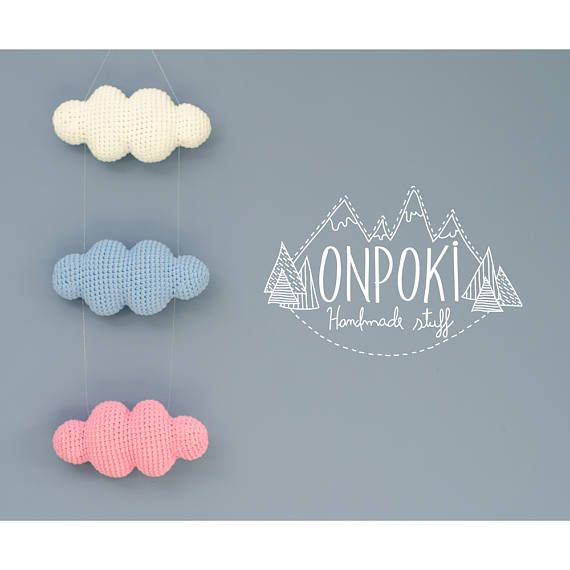 This clouds are handmade crocheted with 80% Cotton and 20% synthetic yarn (that makes the cotton softer) in a free smoke-pet house and was stuffed with high quality polyester stuffing.  A beautiful and original way to decorate your walls. Ideal for: - Rooms for babies, children or teenagers - Office - Living And any other space in your home where you want to observe clouds throughout the day.  Perfect as a gift for Mothers day, Baby shower, Birthdays, Housewarming, Wedding, etc.  You can…