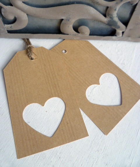 Gift tag with cut out heart