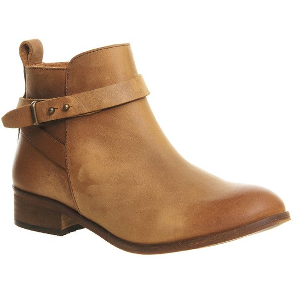 Office Instinct Ankle Boots With Trim ($120) ❤ liked on Polyvore featuring shoes, boots, ankle booties, ankle boots, tan leather, women, flat boots, leather bootie, tan booties ve tan leather booties