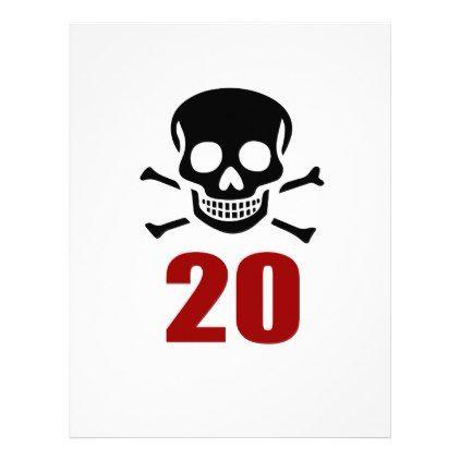 #20 Birthday Designs Letterhead - #giftidea #gift #present #idea #number #twenty #twentieth #bday #birthday #20thbirthday #party #anniversary #20th