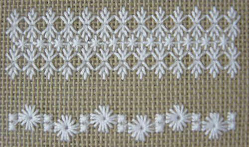 leaf stitch, double cross stitch, eyelets