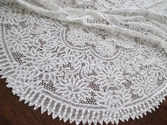 Antique Battenberg Lace Oval Tablecloth 58 x 92  as by UppNorthEh