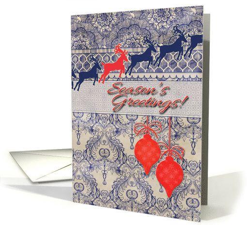 Season's Greetings! Reindeer, vintage wallpaper, navy blue, coral ...