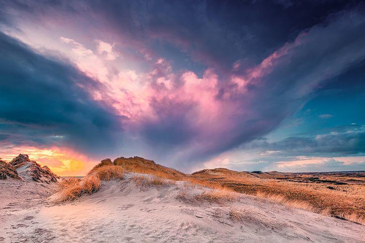 Wolkenexplosion (Jütland), Dänemark, Küste, Nordsee, Sonnenuntergang, Strand, Wolken