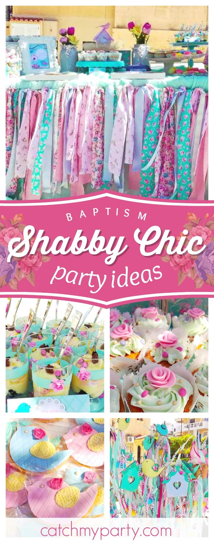 Don't miss this pretty little bird themed shabby chic baptism! The cupcakes are gorgeous!! See more party ideas and share yours at CatchMyParty.com #partyideas #shabbychic #bird #baptism #christening