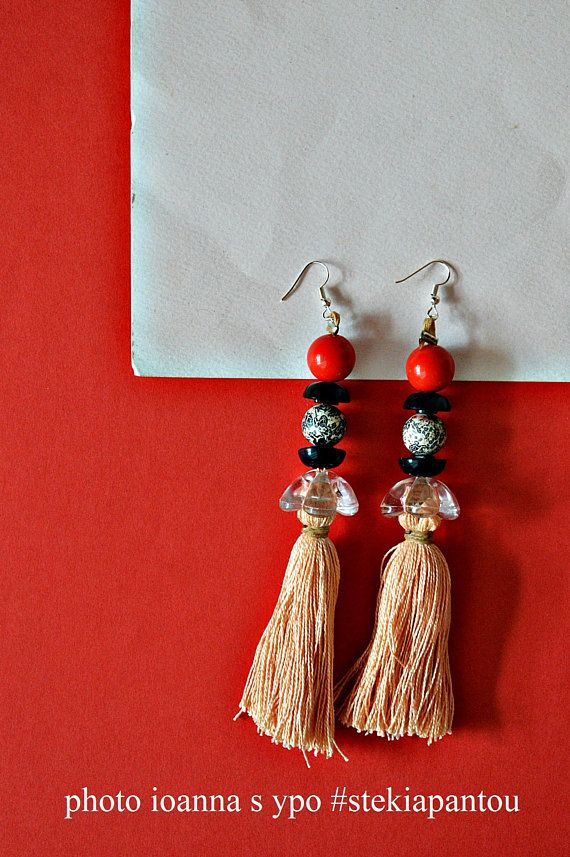 Tassel earrings blush pink, Beaded earrings dangle, Statement earrings blue red pink, Boho summer wedding, Mothers day gift for daughter   #stekiapantou #ioannaypo #thessaloniki #dangleearrings #bohoearrings #statementearrings #beadedearrings #blushpink #mothersdaygift #tasselearrings #pinktassel #etsyjewelry