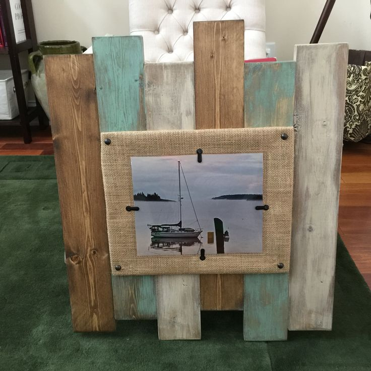 distressed staggered plank frame 22x22 holds an 8x10 photo with a burlap matt and plexiglass
