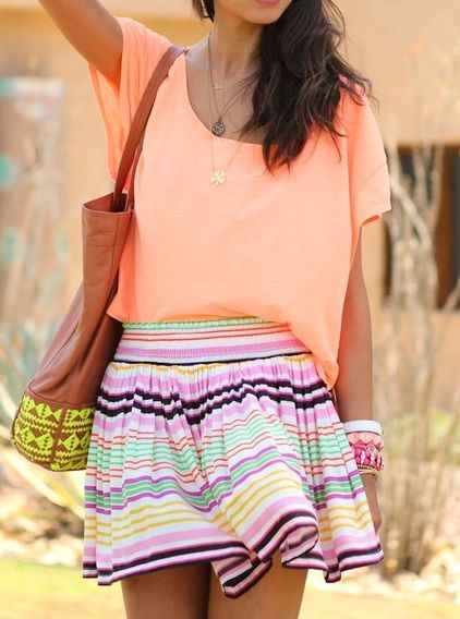 super cute top: Celebrity Style, Fashion, Minis Skirts, Summer Outfit, Shirts, Bright Color, Street Style, Summer Color, Stripes