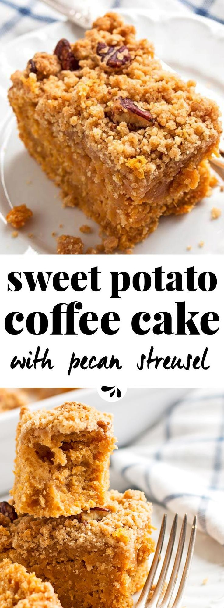 Are you looking for an easy coffee cake you can make for a crowd this fall? Try this sweet potato one with pecan streusel! You can serve it as a decadent brunch treat or a simple dessert, either way it tastes delicious. The crumb topping is incredible! This recipe makes a moist cake, made with mashed sweet potatoes, maple syrup and spices. It's a great idea for autumn and the flavors are rustic, delicious - and a nice change to all the pumpkin craze!