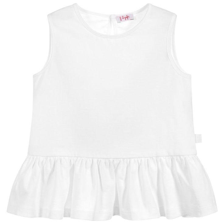 Il Gufo Girls White Peplum T-Shirt at Childrensalon.com