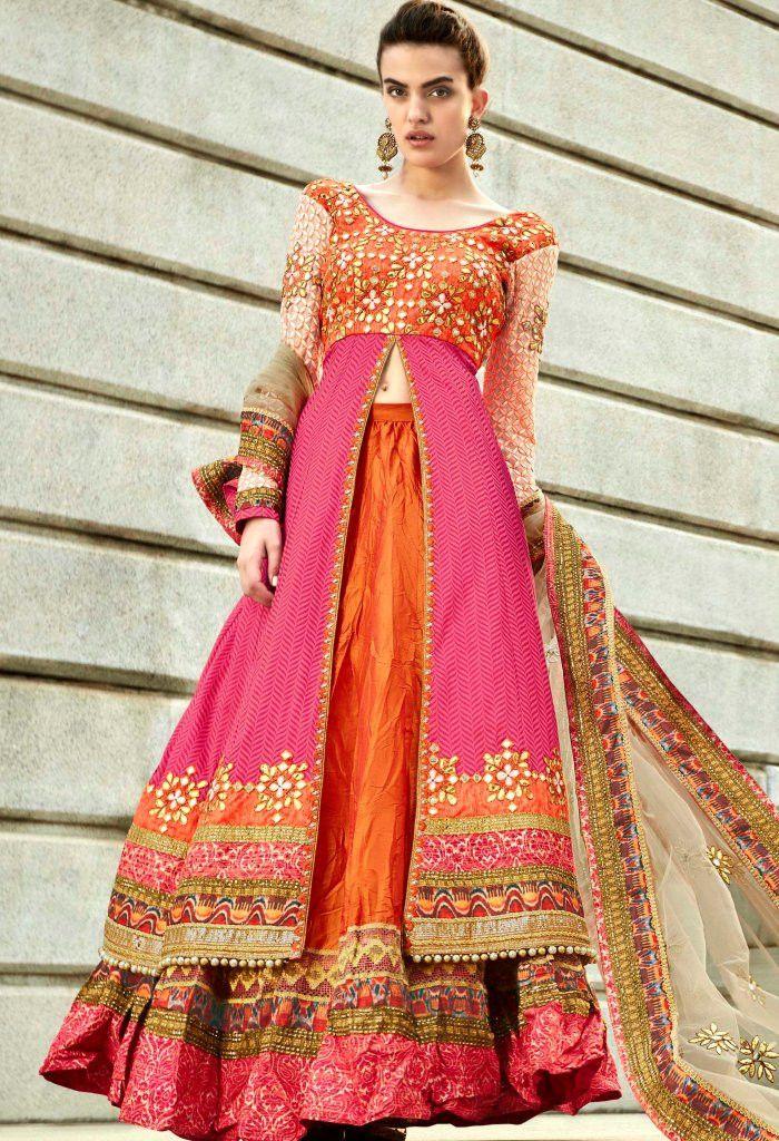 Orange Jacquard Designer Lehenga Suit 2133