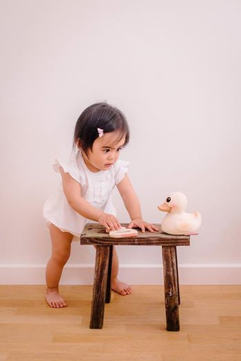 Eve Carmela playing with the Kawan teether whilst talking to the Kawan duck! We love the Hevea family!