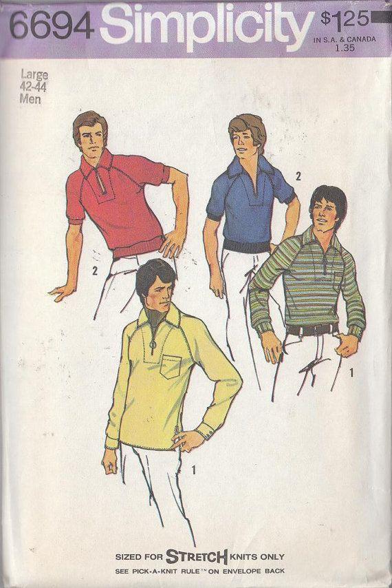 Modèle Vintage Mens 70 s loisirs Style tricot extensible à col chemise poches plaquées Manches Raglan 1974 non CIRCONCIS on Etsy, 5,72€