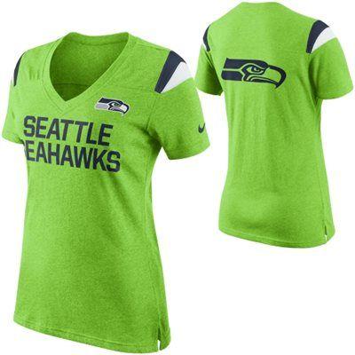 Nike Seattle Seahawks Women's Neon Green Fan Top V-Neck T-Shirt