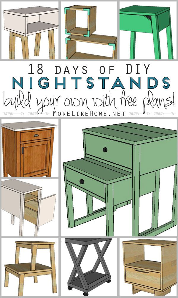 18 original, free DIY nightstand plans! Each includes a shopping list, a cut list, and step-by-step instructions to build it yourself! {MoreLikeHome.net}