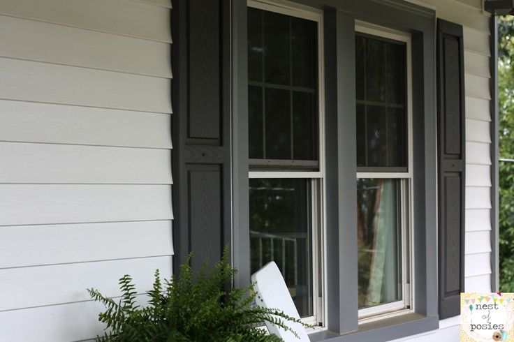 White house with grey trim gray trim with black shutters - White house exterior with black trim ...
