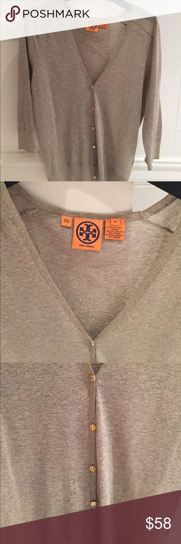 Tory Burch silver cardigan - size medium Tory Burch silver cardigan - size medium. Gold logo buttons. Elbow length. Tory Burch Sweaters Cardigans