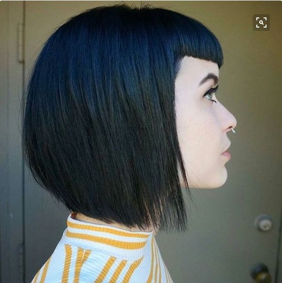 Black Hair With Blue Fringe