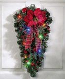 Lighted Christmas Poinsettia Door Swag Decoration By Collections Etc | formulablogger.com